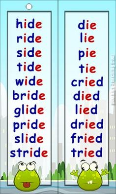 ide words ie words - Free Printable Phonics Word List - Ideal for phonics practice or phonics revision.
