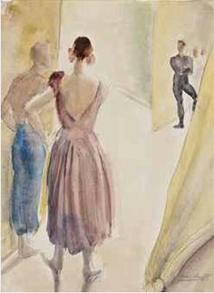Dame Laura Knight R.A. (1877-1970),   Diaghilev Ballet, backstage.