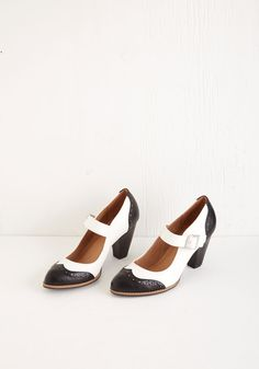 Tap of Luxury Heel in Black and White, #ModCloth