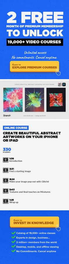 Create beautiful abstract artworks on your iPhone or iPad Design, Art, Illustration, Digital Illustration, IPhone, Ipad, Creative, Photo Editing #onlinecourses #skillstolearn #learningathomeactivities   I'm Jorge Luis Miraldo (a.k.aShorshon Instagram), I'm an art director and illustrator based in Buenos Aires, Argentina. In this brief class, I will introduce you to atechnique that I've...