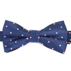 Men's Bow Tie PreTied Navy Blue with Pink Polka Dots Dot by OTAA, $19.99