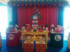 Resultado de imagem para festa mario bros Super Mario, Mario Bros., Luigi, Birthdays, Birthday Cake, Party Ideas, School, Party, Ideas