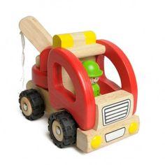 Auto, takelwagen, rood, rubberhout