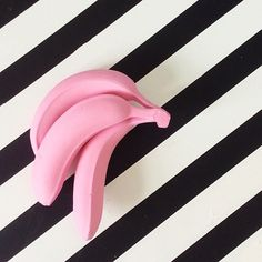 Still Life : Pink Bananas on a striped background :)