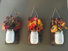 Fall Wall Sconce Set of 2 or 3 Mason Jar by YellowDoorDecorHome