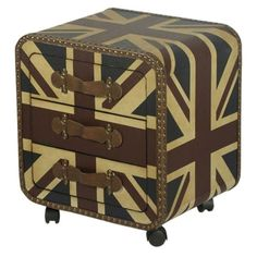 The Vintage Union Jack 3 Drawer Bedside Cabinet is a robust attractive looking bedside chest of drawers that are perfect for keeping your books and accessories inside. This bedside cabinet benefits from sturdy castor wheels allowing you to move it around your room for the most suitable position.