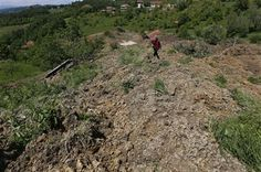 A Bosnian man walks on a broken road after a landslide which swept away eight houses near Kalesija, Bosnia, 150 kms north of Sarajevo, Sunday May 18, 2014. (AP Photo/Amel Emric) ▼18May2014AP|Bosnia floods trigger landslides, unearth mines http://bigstory.ap.org/article/record-balkan-floods-lead-bosnia-landslides