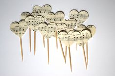 Heart Cupcake Picks, made from vintage sheet music. Star Cupcakes, Cupcake Picks, Cupcake Toppers, Vintage Sheet Music, Vintage Books, Vintage Paper, Book Crafts, Arts And Crafts, Diy Crafts