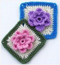 "Lady's Rose 6"" square free crochet pattern"