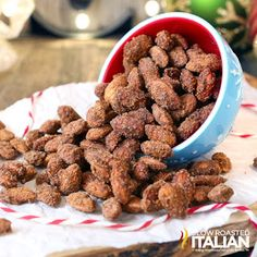 Crockpot Cinnamon Roasted Almonds are crunchy cinnamon glazed almonds that are perfectly roasted right in your slow cooker. This simple recipe is so easy, they just about cook themselves. Candied nuts make for the perfect homemade holiday gift. Nut Recipes, Almond Recipes, Slow Cooker Recipes, Dog Food Recipes, Cooking Recipes, Crockpot Recipes, Meal Recipes, Cooking Ideas, Delicious Recipes