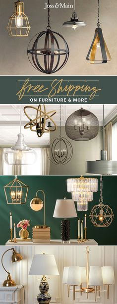 Whether you're entertaining in the dining room or working in the home office, lighting sets the mood. Explore pendant lights in geometric, retro, or minimalistic aesthetics. Find the right light at the perfect price and sign up for exclusive deals today at jossandmain.com