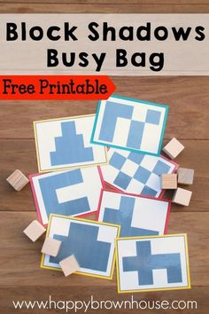 This free printable busy bag for preschoolers is a fun way to set the foundation for other math concepts like area and perimeter. Have the kids guess how many blocks will fit in the shadow, counting, and more! Comes with free printable task cards and is easy to make. Perfect for the busy mom who needs quick busy bag ideas to keep preschool kids busy and quiet.