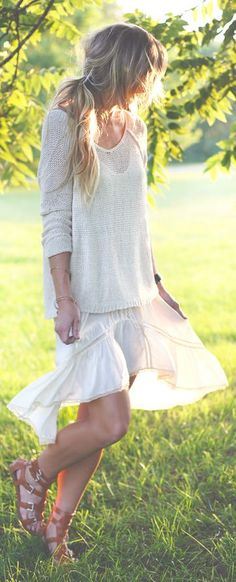✿BOHEMIAN GYPSY SPIRIT- Free People Ivory Hippie High And Low Lace Trim Slip Dress by Happily Grey- ~LadyLuxury~