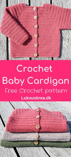 Free crochet pattern for crochet baby cardigan, find more crochet babyclothes on my website. Free crochet pattern for crochet baby cardigan, find more crochet babyclothes on my website. Crochet Baby Cardigan Free Pattern, Crochet Baby Blanket Beginner, Crochet Baby Sweaters, Baby Sweater Patterns, Crochet Baby Clothes, Crochet Baby Hats, Baby Patterns, Baby Knitting, Crochet Patterns