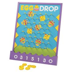 """An egg-cellent activity for a kids' egg hunt event, this disc drop game features """"Egg Drop,"""" chicks and colorful Easter eggs. Easter Activities For Kids, Easter Games, Easter Toys, Easter Crafts, Easter Hunt, Easter Party, Egg Game, Egg Drop, Bunny Birthday"""