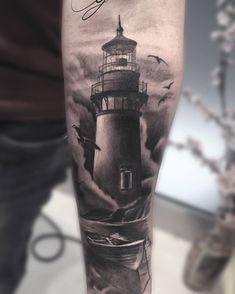 The Lighthouse that is built on the coasts, islands is to assist the sailors while sailing. The lighthouse tattoos symbolize hope and strength. Modern Tattoos, Sexy Tattoos, Body Art Tattoos, Sleeve Tattoos, Tattoos For Guys, Cool Tattoos, White Tattoos, Ankle Tattoos, Arrow Tattoos