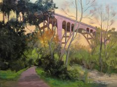 Original 9 x 12 oil painting of Pasadena's Colorado Street Bridge, Arroyo Seco by California impressionist painter Karen Winters