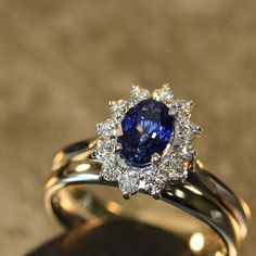 Sapphire Engagement and Wedding Ring Set 14k White by LaMoreDesign