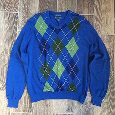 Lyle & Scott 100% Combed Cotton Men's Large Argyle Sweater