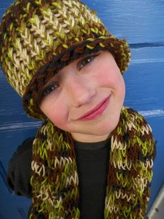 Young Boys Hat and Scarf Set Knit Camoflauge by jamiesierraknits, $20.00
