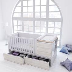 Cunas convertibles de diseño y modernas colección PURE ART PREMIUM. Con cajones inferiores para almacenar sus cosas de bebé. Una solución de largo recorrido.... #nursery