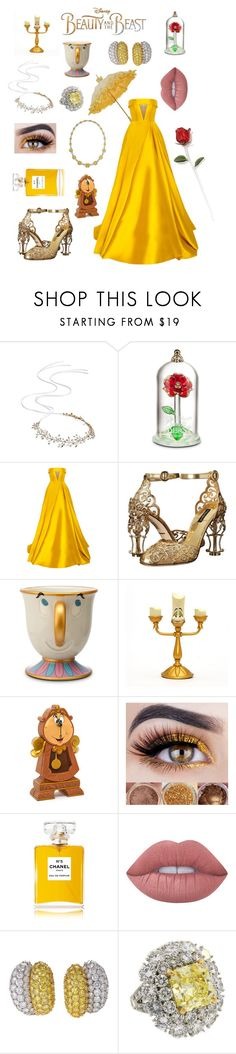 """""""Beauty & the best style 😍😍💛"""" by fashiondam ❤ liked on Polyvore featuring Brides & Hairpins, Disney, Alex Perry, Dolce&Gabbana, Lumière, Chanel, Lime Crime and Van Cleef & Arpels"""