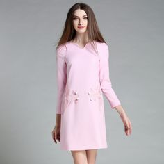 Autumn womens pink dresses Elegant V-neck long sleeve Embroidery Goldfish Commuter OL office ladys business dress 1590