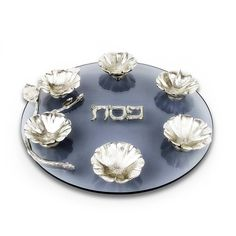 Passover Gifts-Hand Sculpted Flower Bowl And Glass Passover Seder Plate