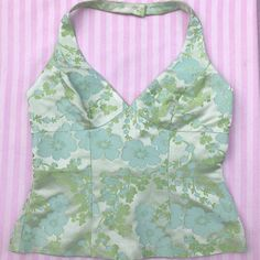 Stunning blue and green satin floral halterneck top with zip fastening at the back - serious renaissance tenets vibes. Wish this fit me ~ size 12 and 14 ~ - Sold by Indie Outfits, Cute Casual Outfits, Pretty Outfits, Fashion Outfits, Dress Up, 2000s Fashion, Looks Cool, Aesthetic Clothes, My Style