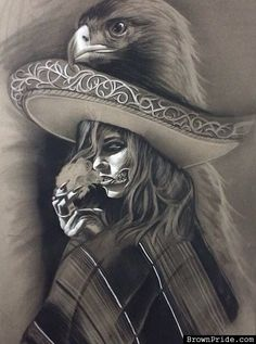 """Charra with Aztec Eagle - Chicano Art """" El Jazzy Joe Chicano Tattoos, Chicano Drawings, Art Drawings, Arte Cholo, Cholo Art, Aztec Drawing, Arte Lowrider, Aztecas Art, Catrina Tattoo"""