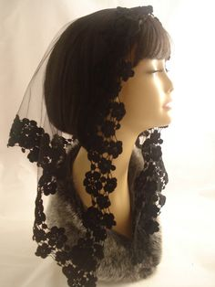 A Traditional Black Mantilla / Tulle With Black Floral Trim Chapel Veil / Triangular Catholic Lace Headcovering for Mass. The Zita Veil.