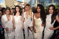 Fifth Harmony earlier on the #CMTawards pink carpet Fifth Harmony, Ally Brooke, Bridesmaid Dresses, Prom Dresses, Formal Dresses, Wedding Dresses, Whatever Forever, Christina Grimmie, Hair