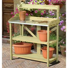 Wood Potting Bench with Metal Table Top with Garden Tool Storage Pegs - Quality House Garden Tool Shed, Garden Tool Storage, Potting Bench Plans, Potting Sheds, Garden Shelves, Wood Patio, Patio Bench, Wood Tools, Garden Table