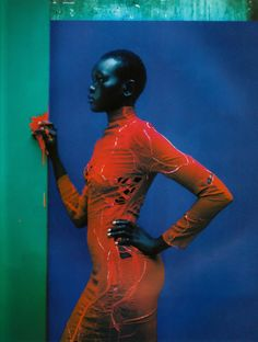 Photography Jean-Baptiste Mondino. Model: Alek Wek. Dress by Martine Sitbon. Vogue Paris - Champ de Couleur -December/January 1997-1998.