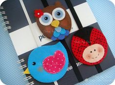 cute bookmarks, could also be made into felt ornaments
