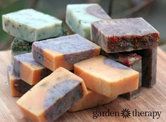 gorgeous soap with all natural color and essential oils from How to Make All Natural Cold Process Soap