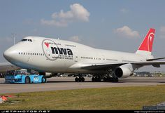 Northwest Airlines Boeing 747-451 pushback at Schiphol Airport
