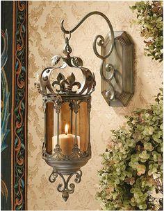 Fleur de Lis Hanging Metal Scrollwork Pendant Lantern Sconce Wall ...