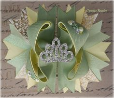 Tiana Hair Bow Tiara Bow Yellow and Green by CreativeFinishesBows