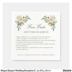 Megan Elegant Wedding Reception Fun Facts Cocktail Napkins