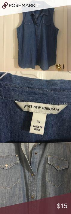 "Jones New York Jeans denim sleeveless top XL Jones New York Jeans denim sleeveless top XL (approx 24"" under arm to under arm) Jones New York Tops Button Down Shirts"