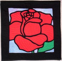 Stained glass rose art quilt by Anna Slawinska (Poland)