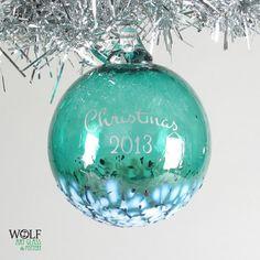 Blown Glass Ornament Personalized Christmas 2013 by wolfartglass, $35.00