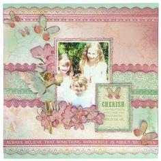 Layout for Merly Crop. Vintage Scrapbook, Scrapbook Pages, Friend Scrapbook, Vintage Wedding Flowers, Enchanted Garden, General Crafts, Scrapbooking Layouts, Florals, Card Ideas