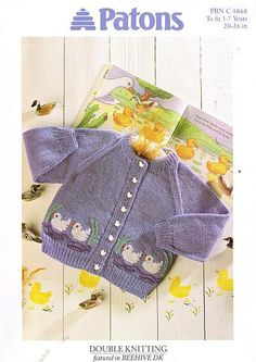 Patons4868 ducks  cardigan baby vintage knitting pattern PDF instant download