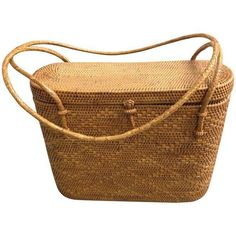 Vintage Woven Basket Purse ($100) ❤ liked on Polyvore featuring home, home decor, small item storage, baskets, vintage basket, vintage home accessories, woven basket, weaved baskets and vintage woven baskets