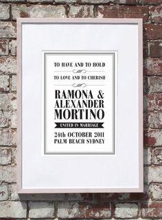Elegant Customised Wedding A3 Print. $20.00, www.cocobluecreative.com Palm Beach Sydney, A3, Marriage, Elegant, Unique Jewelry, Frame, Creative, Handmade Gifts, Blue