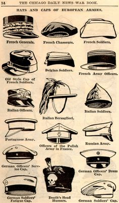 lostsplendor:  Hats of the European Armies, c. WWI (via)   I thought these were marching band hats for a moment.