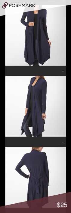 ✂️💲NWT BELLINO LT WEIGHT NAVY FULL LENGTH DUSTER NWT BELLINO LT MD WEIGHT NAVY FULL LENGTH DUSTER. IM IN LOVE WITH THIS BRAND. SO SOFT IT BLOWS AWAY THE COMPETITION FOR 3/4 the PRICE. DARK NAVY. WEAR DRESSY OR CASUAL. WEAR TIED OR UNTIED. CLASSIC PIECE. IM PRICED THE LOWEST. Bellino Clothing Sweaters Cardigans