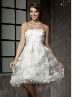 Empire Strapless Knee-Length Satin  Tulle Wedding Dresses With Ruffle  Lace  Beadwork (002000221)